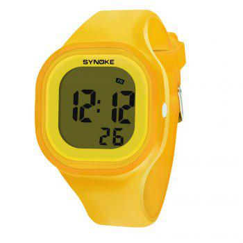 SYNOKE 66896 Waterproof Silicone Band Couple Electronic Watch - YELLOW YELLOW