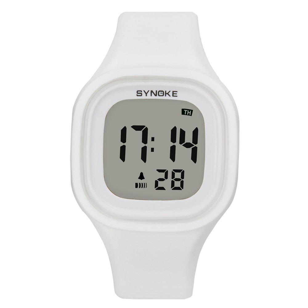 SYNOKE 66896 Waterproof Silicone Band Couple Electronic Watch - WHITE