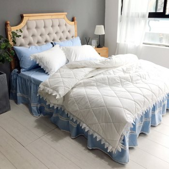 Quilted Quilt Bedding Sets -  WHITE BLUE