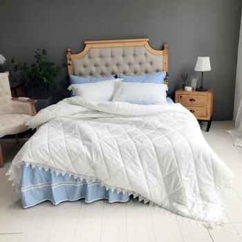Quilted Quilt Bedding Sets - WHITE BLUE WHITE BLUE