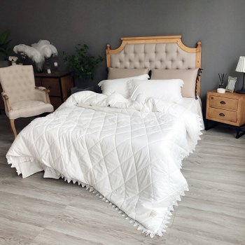 Quilted Quilt Bedding Sets - WHITE WHITE