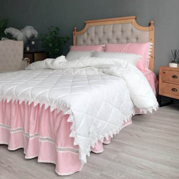 Quilted Quilt Bedding Sets - WHITE PINK