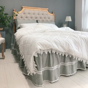 Quilted Quilt Bedding Sets - WHITE GREY WHITE GREY
