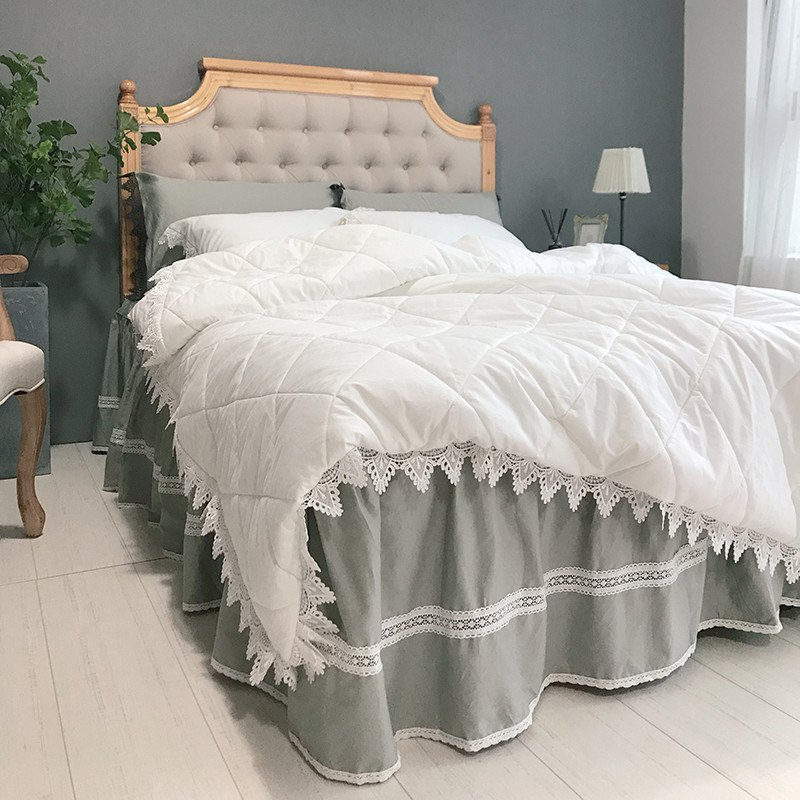 Quilted Quilt Bedding Sets - WHITE GREY