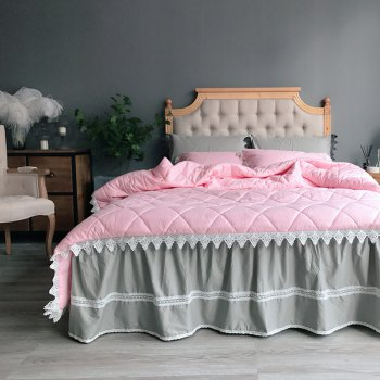 Quilting Quilt Bedding Sets - PINK GREY PINK GREY