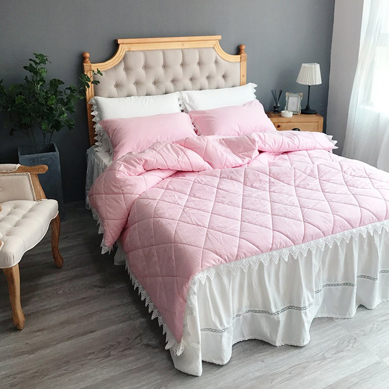 Quilting Quilt Bedding Sets - PINK WHITE