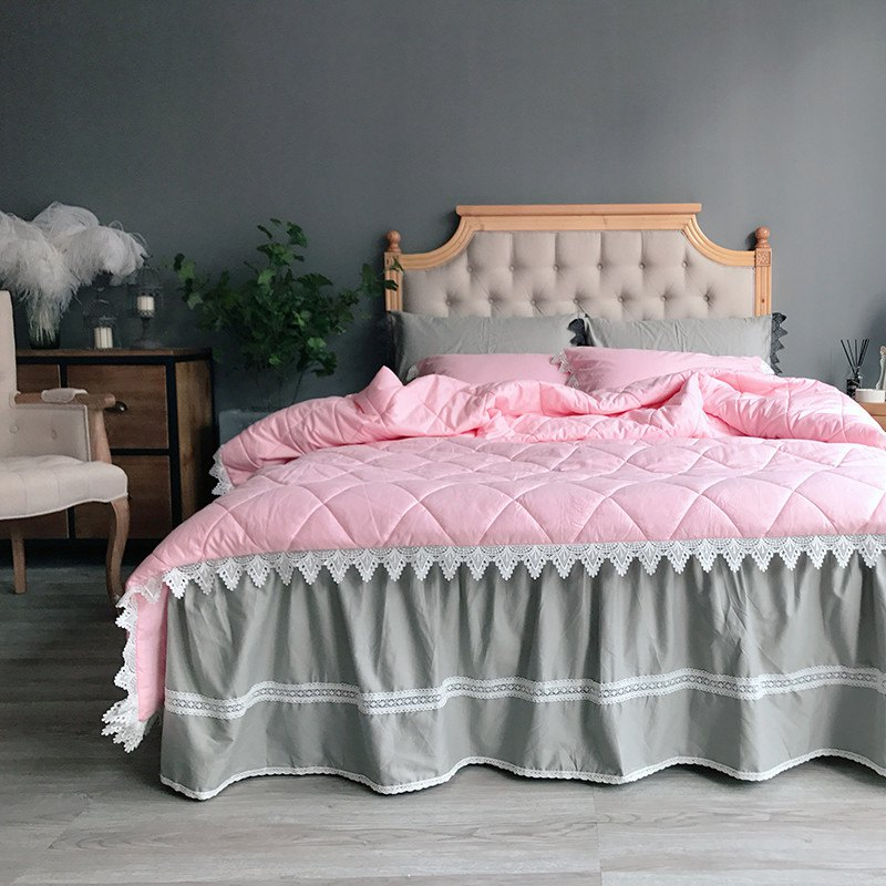 Quilting Quilt Bedding Sets - PINK GREY