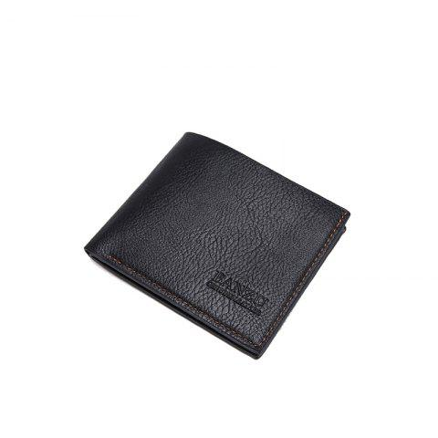 Men's Simple Business Casual Wallet Leather Card Holder Purse - BLACK