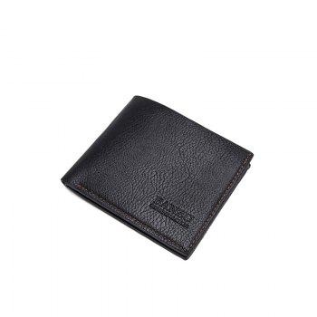 Men's Simple Business Casual Wallet Leather Card Holder Purse - BLACK BLACK