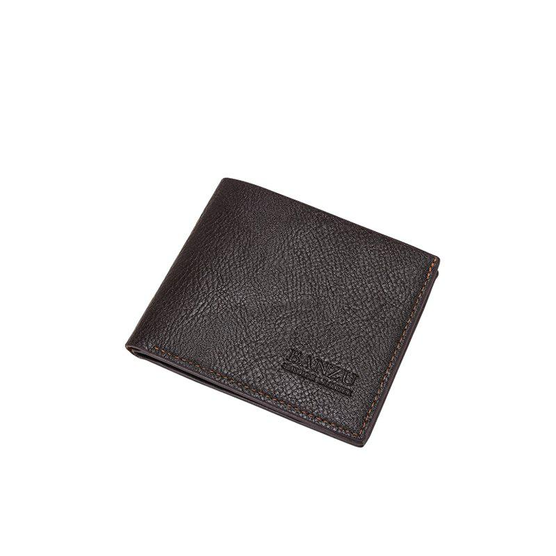 Men's Simple Business Casual Wallet Leather Card Holder Purse - BROWN