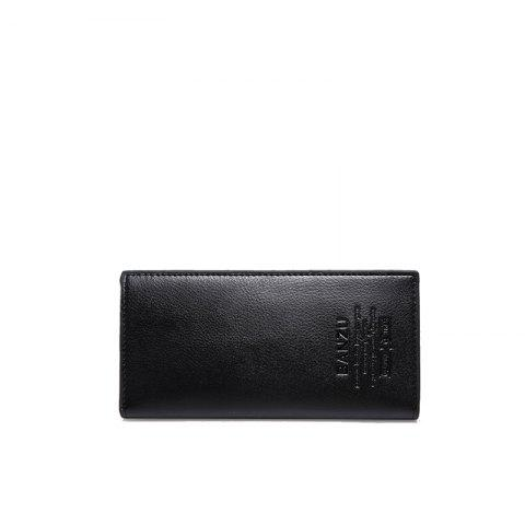 Men's Simple Leather Card Holder Solid Color Wallet Hand Purse - BLACK