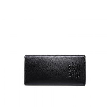 Men's Simple Leather Card Holder Solid Color Wallet Hand Purse - BLACK BLACK