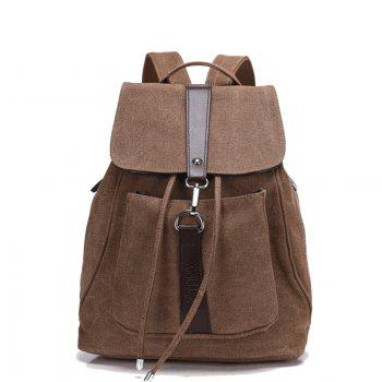 Classic Vintage Canvas Double Shoulder Bag - DEEP BROWN DEEP BROWN
