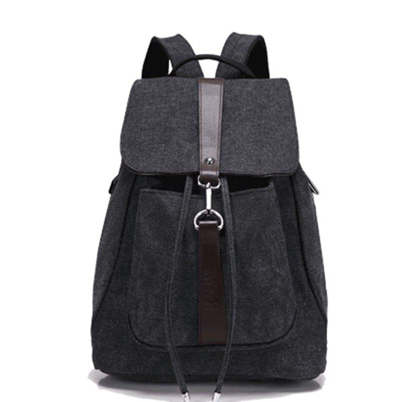 Classic Vintage Canvas Double Shoulder Bag - BLACK