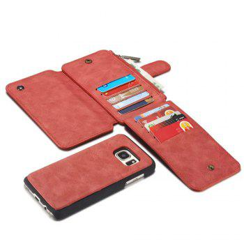 Multi-functional Leather Separable Zipper Purse Holster for Samsung Galaxy S7 - RED