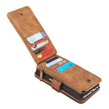 Multi-functional Leather Separable Zipper Purse Holster for Samsung Galaxy S7 - BROWN