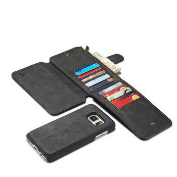 Multi-functional Leather Separable Zipper Purse Holster for Samsung Galaxy S7 - BLACK