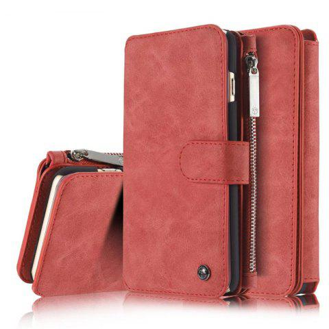 Luxury Retro Leather Multifunction Magnetic Case Card Zipper Wallet Back for iPhone 6 - RED
