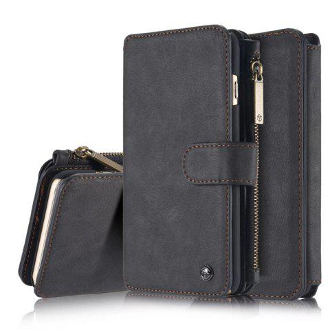 Luxury Retro Leather Multifunction Magnetic Case Card Zipper Wallet Back for iPhone 6 - BLACK