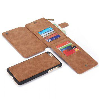 Luxury Retro Leather Multifunction Magnetic Case Card Zipper Wallet Back for iPhone 6 - BROWN