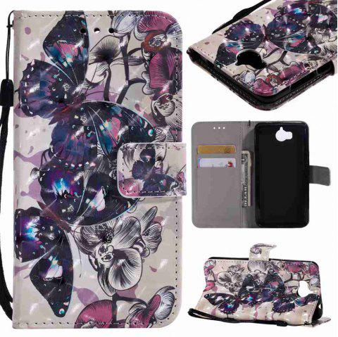 Explosions 3D Painted PU Phone Case for HUAWEI Y5 2017 / Y6 2017 - BLACK