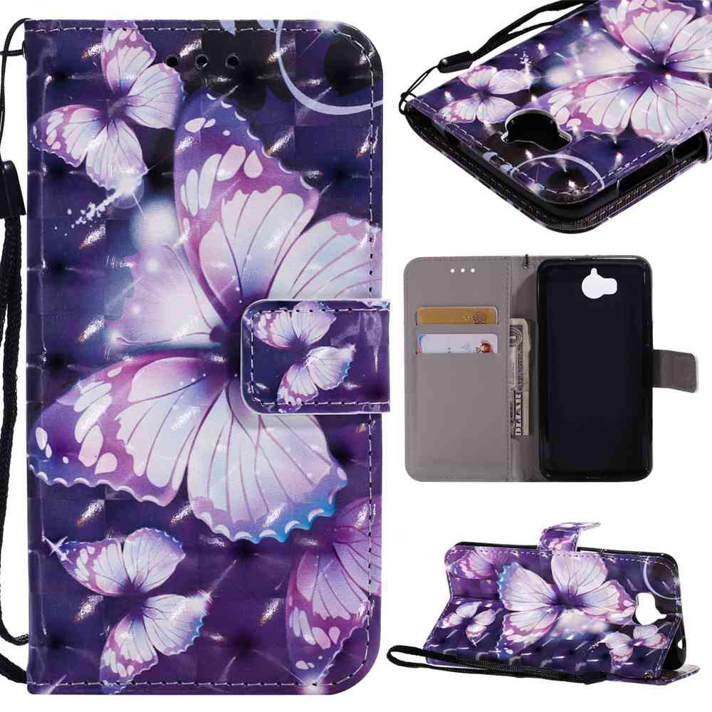 Explosions 3D Painted PU Phone Case for HUAWEI Y5 2017 / Y6 2017 - PURPLE