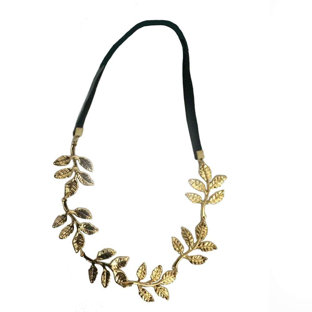 Leaves Decorative Olive Branch Decorative Hair Band Headband - BLACK / GOLDEN