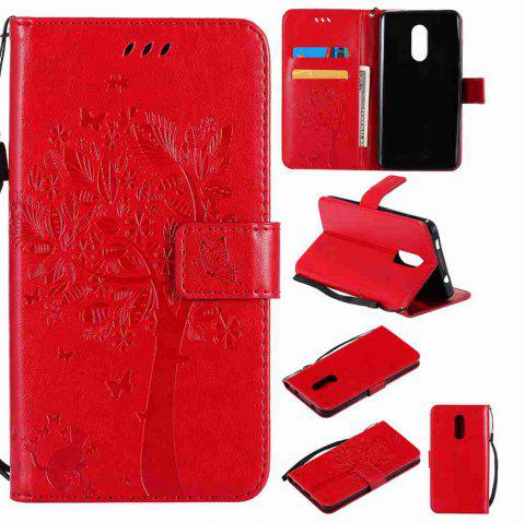 Embossed Cat and Tree PU TPU Phone Case for Xiaomi Red Mi Note4x / Note4 - RED