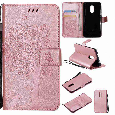 Embossed Cat and Tree PU TPU Phone Case for Xiaomi Red Mi Note4x / Note4 - ROSE GOLD