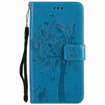 Embossed Cat and Tree PU TPU Phone Case for Xiaomi Red Mi Note4x / Note4 - BLUE
