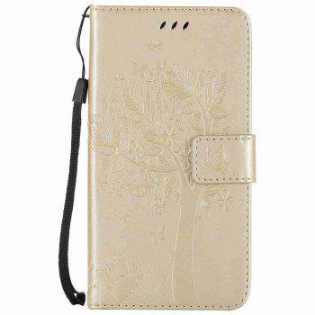 Embossed Cat and Tree PU TPU Phone Case for Xiaomi Red Mi Note4x / Note4 - GOLDEN