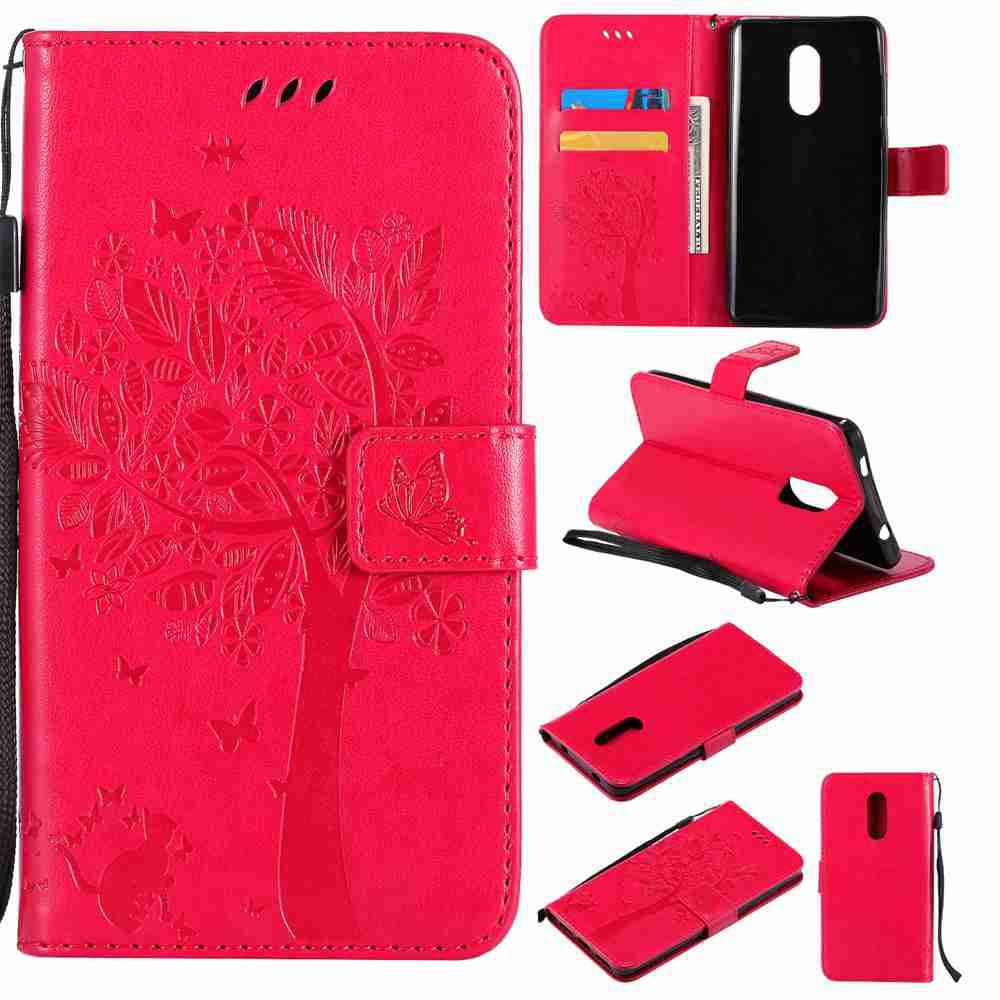 Embossed Cat and Tree PU TPU Phone Case for Xiaomi Red Mi Note4x / Note4 - ROSE MADDER