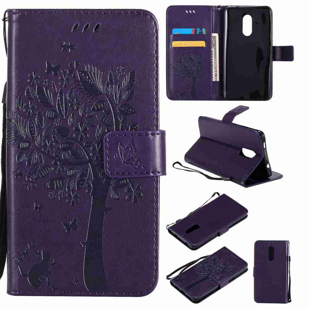 Embossed Cat and Tree PU TPU Phone Case for Xiaomi Red Mi Note4x / Note4 - PURPLE