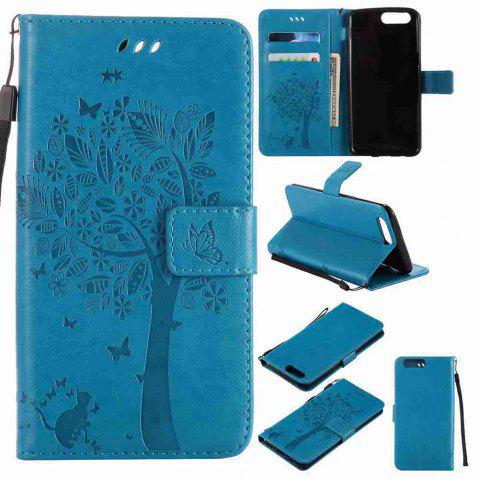 Embossed Cat and Tree PU TPU Phone Case for One Plus Five - BLUE