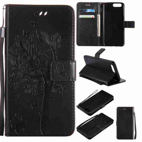 Embossed Cat and Tree PU TPU Phone Case for One Plus Five - BLACK
