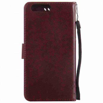 Embossed Cat and Tree PU TPU Phone Case for One Plus Five - BROWN