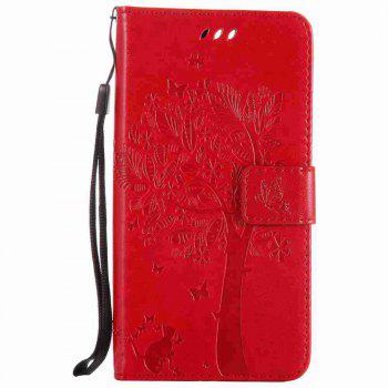 Embossed Cat and Tree PU TPU Phone Case for One Plus Five - RED