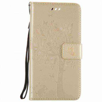 Embossed Cat and Tree PU TPU Phone Case for One Plus Five - GOLDEN
