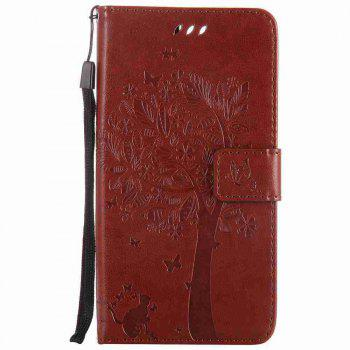 Embossed Cat and Tree PU TPU Phone Case for One Plus Five - COFFEE