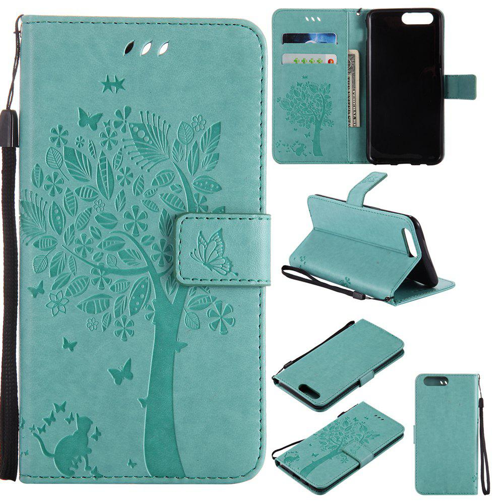 Embossed Cat and Tree PU TPU Phone Case for One Plus Five - IVY