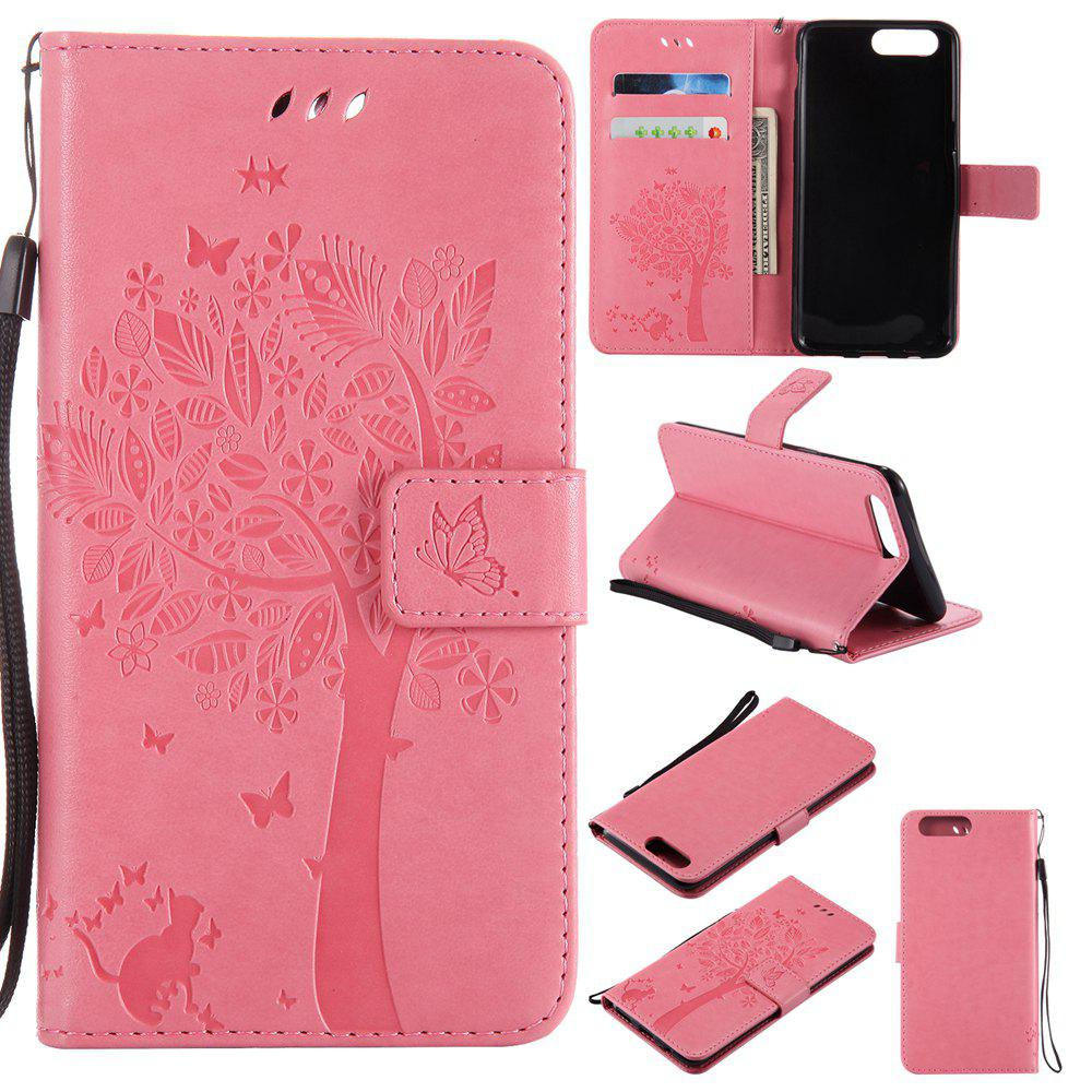Embossed Cat and Tree PU TPU Phone Case for One Plus Five - PINK