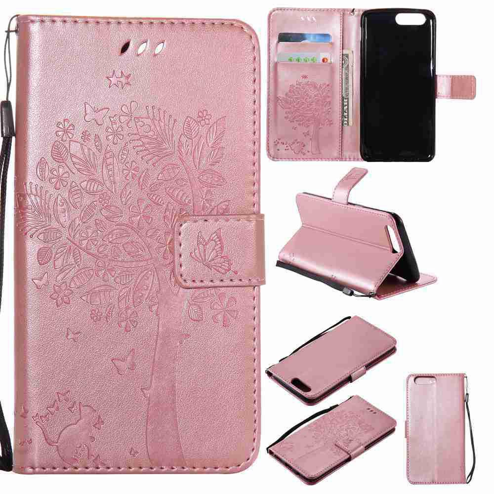 Embossed Cat and Tree PU TPU Phone Case for One Plus Five - ROSE GOLD