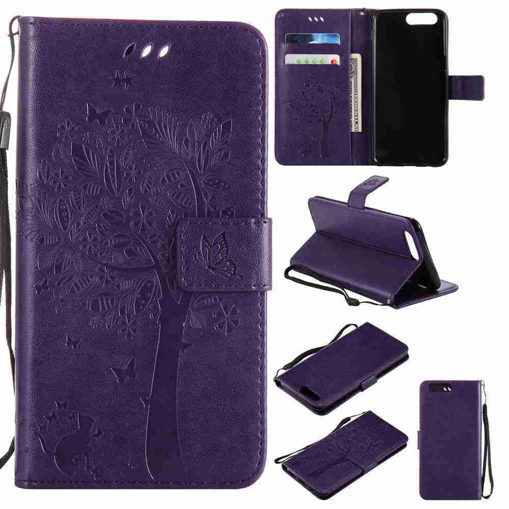 Embossed Cat and Tree PU TPU Phone Case for One Plus Five - PURPLE