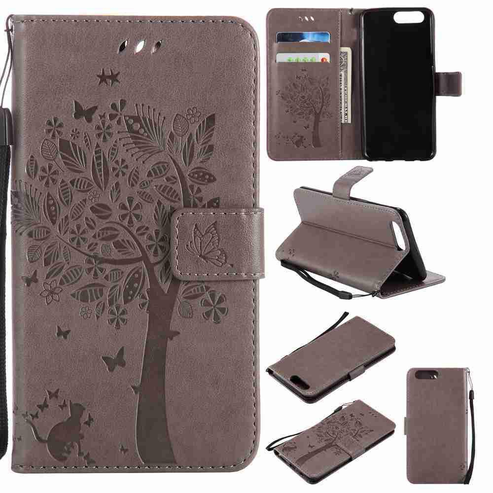 Embossed Cat and Tree PU TPU Phone Case for One Plus Five - GRAY