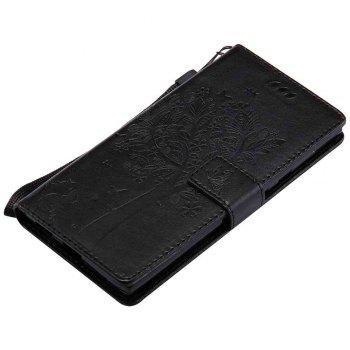 Embossed Cat and Tree PU TPU Phone Case for Sony E6 / L1 - BLACK