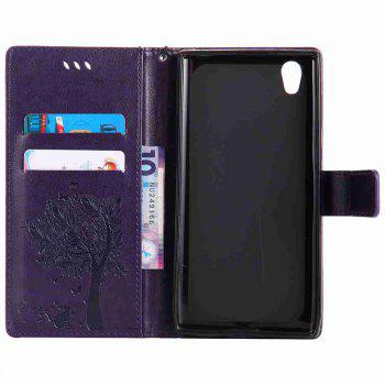 Embossed Cat and Tree PU TPU Phone Case for Sony E6 / L1 - PURPLE