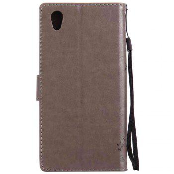 Embossed Cat and Tree PU TPU Phone Case for Sony E6 / L1 - GRAY