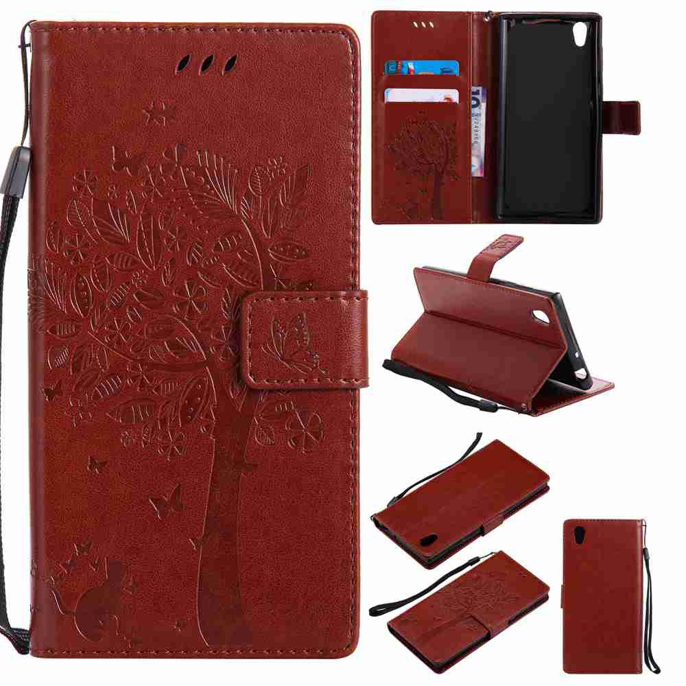Embossed Cat and Tree PU TPU Phone Case for Sony E6 / L1 - COFFEE
