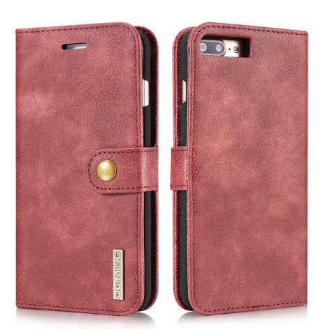 DG.MING Premium Genuine Cowhide Leather Case with Detachable Magnetic Back Cover for iPhone 7 Plus / 8 Plus - RED