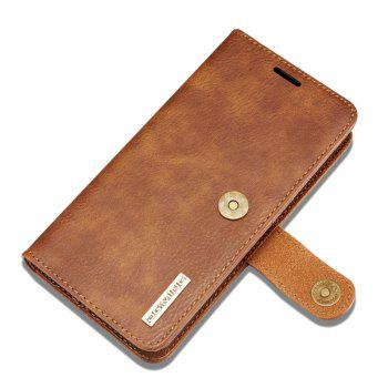 DG.MING Premium Genuine Cowhide Leather Case with Detachable Magnetic Back Cover for iPhone 7 Plus / 8 Plus - YELLOW